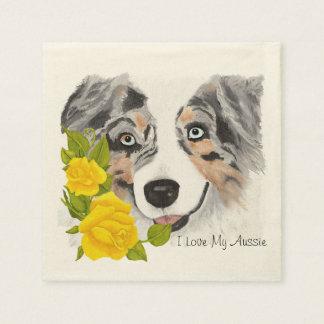 Blauer Merle australische und gelbe Rosen Papierserviette