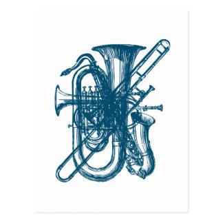 Blauer Messing u. Saxophon Postkarte