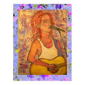 blauer Mikrofon Songstress-Tropfen Postkarte