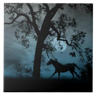 Blauer Mond, Eiche und laufende Pferdekunst-Fliese Große Quadratische Fliese