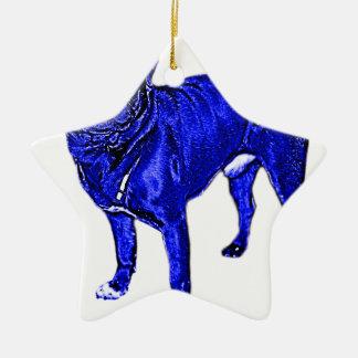 Blauer Mops Keramik Ornament