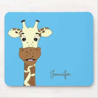 Blauer Name des lustigen Giraffen-Cartoon scherzt Mousepads
