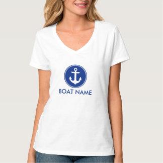 Blauer nautischanker Ihr Boots-Namen-T - Shirt