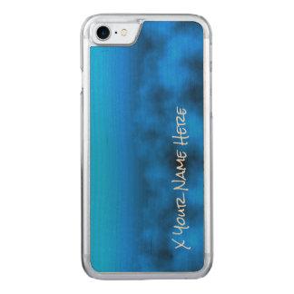 Blauer Neonnächtlicher Himmel mit schwarzem Carved iPhone 7 Hülle