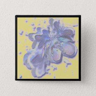Blauer Obstbaum-Blumen-Blüten-Knopf Quadratischer Button 5,1 Cm