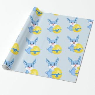 Blauer Osterhasen-Cartoon Geschenkpapier