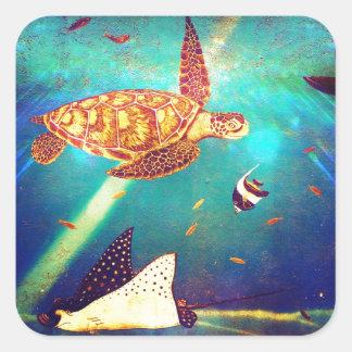 Blauer Ozean-bunte Meeresschildkröte-Malerei Quadratischer Aufkleber