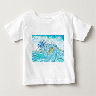 Blauer Ozean-SeeEinhorn-Fisch-Pferdehippokamp Baby T-shirt