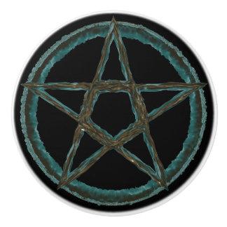 Blauer Pentagram-kundenspezifischer Keramik-Griff Keramikknauf