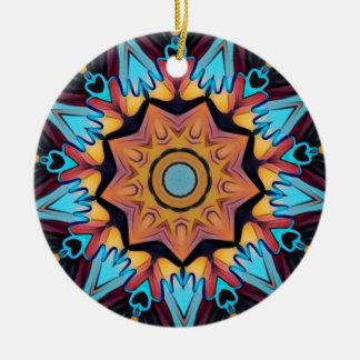 Blauer Pfirsich-künstlerische Mandala Rundes Keramik Ornament