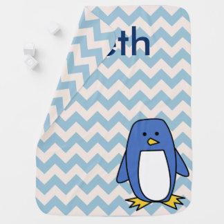Blauer Pinguin-kundenspezifische Baby-Decke Puckdecke