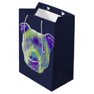 Blauer Pitbull Terrierhundmittlere Geschenk-Tasche Mittlere Geschenktüte