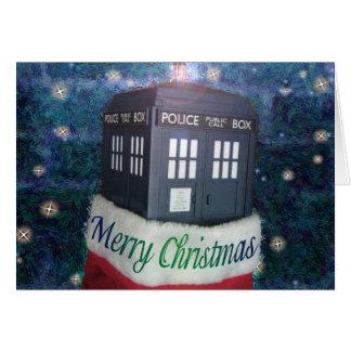 blauer Polizeikasten der Weihnachtskarte Karte
