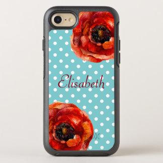 Blauer Polka-Punkt, rote Mohnblumen, mit Blumen, OtterBox Symmetry iPhone 7 Hülle
