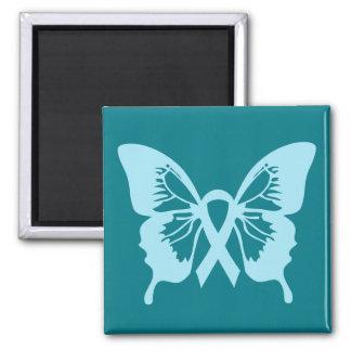 Blauer Prostatakrebs-Schmetterlingsquadratmagnet Quadratischer Magnet