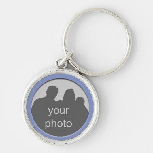 Blauer Rahmen Ihr Foto erstklassiges Keychain 4 Silberfarbener Runder Schlüsselanhänger