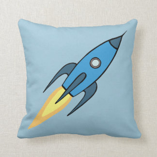 Blauer Retro Rocketship Cartoon-Entwurf Kissen
