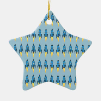 Blauer Retro Rocketship niedlicher Cartoon-Entwurf Keramik Stern-Ornament