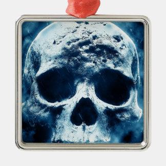 Blauer Schädel Quadratisches Silberfarbenes Ornament