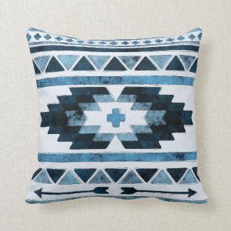 Blauer Schmutz-Azteke Stammes- Kissen