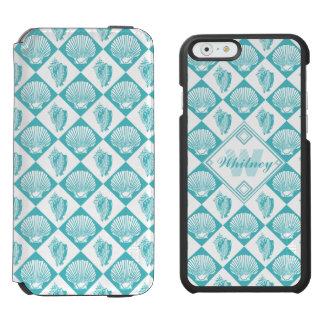 Blauer Seashell-Diamant-Seestrand-Monogramm Incipio Watson™ iPhone 6 Geldbörsen Hülle