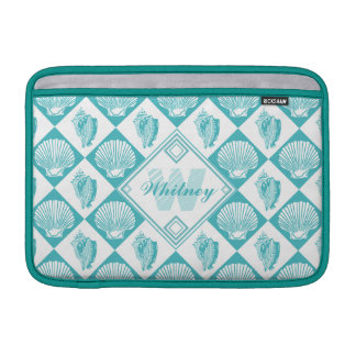 Blauer Seashell-Diamant-Seestrand-Monogramm MacBook Sleeve