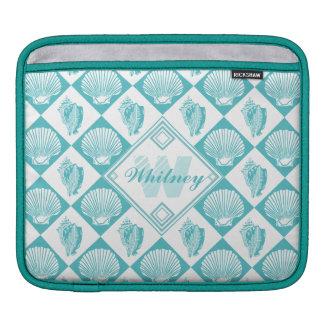 Blauer Seashell-Diamant-Seestrand-Monogramm Sleeve Für iPads