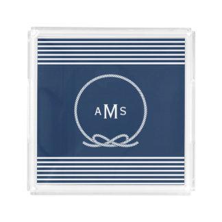 Blauer Seeseil-Rahmen-Monogramm-Acryl-Behälter Acryl Tablett