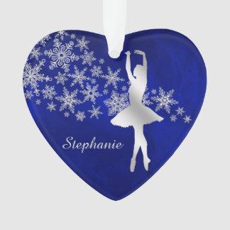Blauer silberner Schneeflocke-Tänzer Ornament