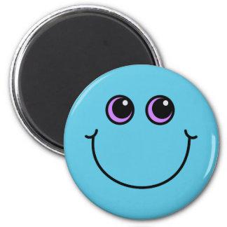 Blauer Smiley Runder Magnet 5,1 Cm