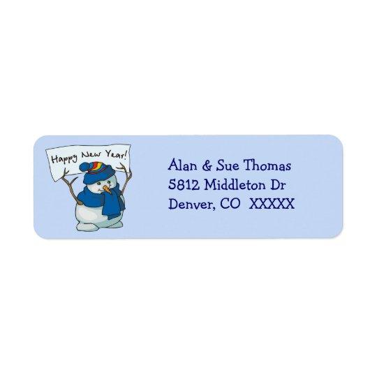 Blauer Snowman-Rücksendeadresse-Aufkleber