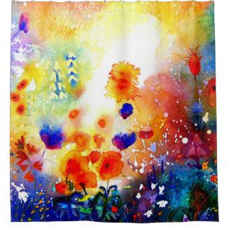 Blauer Sommer-Garten Duschvorhang