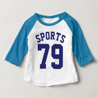 Blauer Sport-Jersey-Entwurf des Weiß-u. Baby T-shirt