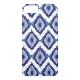 Blauer Stammes- Ikat Diamant-weißes Zickzack iPhone 7 Hülle