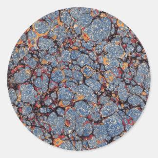 Blauer Stein-gemarmortes Papier Runder Aufkleber