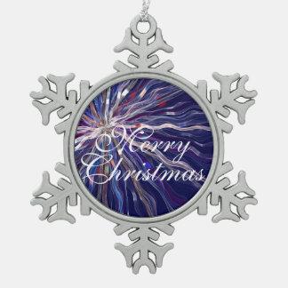 Blauer Stern-Kunst-Weihnachtsverzierung Schneeflocken Zinn-Ornament