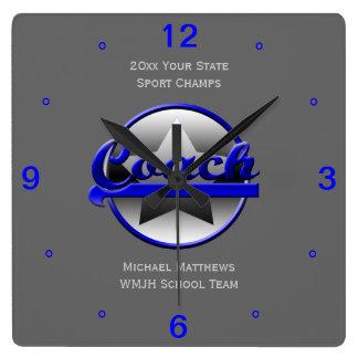 Blauer Stern-Trainer-Name und Schulquadratische Quadratische Wanduhr