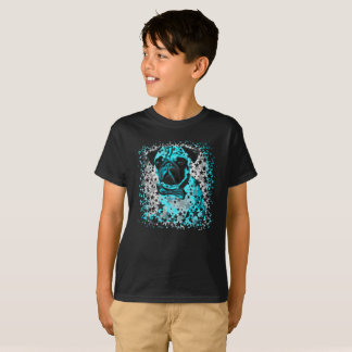 Blauer sternenklarer Pug. T-Shirt