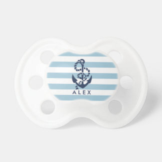 Blauer Streifen-nautischanker personalisiert Baby Schnuller
