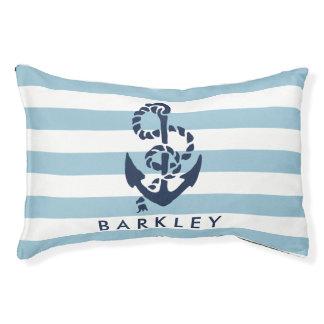 Blauer Streifen-nautischanker personalisiert Haustierbett
