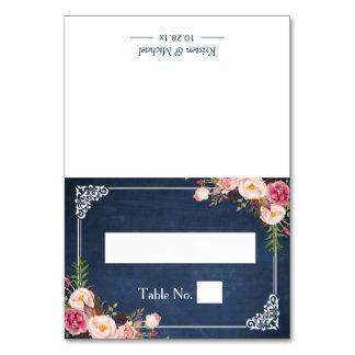 Blauer Tafel-Hochzeits-Sitzplatz-mit Blumenplatz Karte