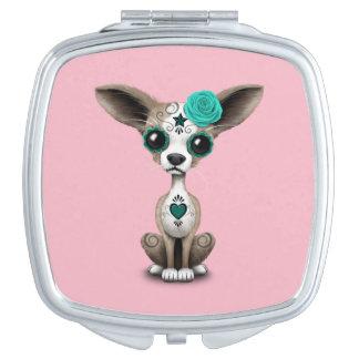 Blauer Tag der toten Chihuahua Schminkspiegel