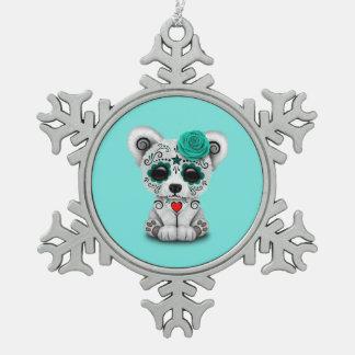 Blauer Tag des toten Baby-Eisbären Schneeflocken Zinn-Ornament