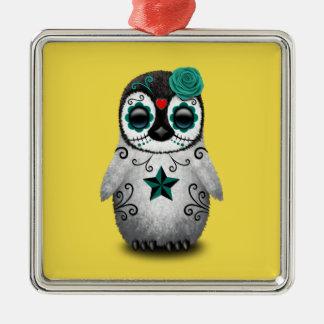 Blauer Tag des toten Baby-Pinguins Quadratisches Silberfarbenes Ornament