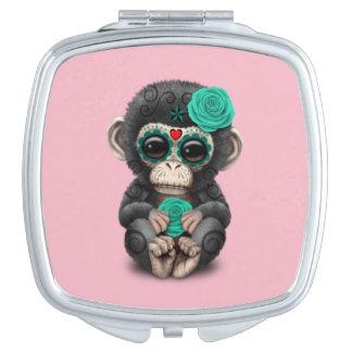 Blauer Tag des toten Schimpansen Taschenspiegel