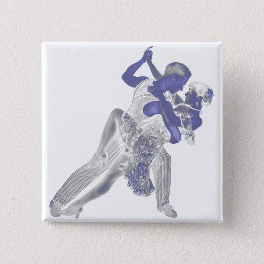 Blauer Tango Quadratischer Button 5,1 Cm