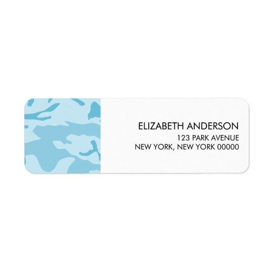Blauer Tarnungs-Rücksendeadressen-Aufkleber