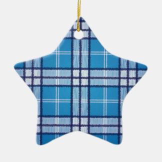 Blauer Tartan Keramik Stern-Ornament