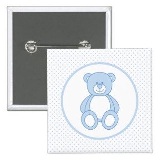 Blauer Teddybär-Knopf Quadratischer Button 5,1 Cm