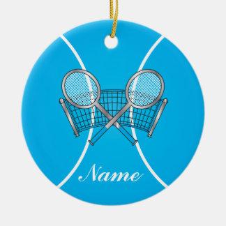 Blauer Tennisball | personifizieren Rundes Keramik Ornament